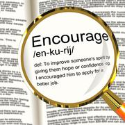 encourage definition magnifier showing motivation inspiration and reassurance - stock illustration