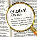 Stock Illustration of global definition magnifier showing worldwide international or continental