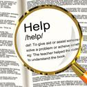 Stock Illustration of help definition magnifier showing support assistance and service