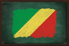congo flag painted with chalk on blackboard - stock photo