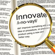 innovate definition magnifier showing creative development and ingenuity - stock illustration