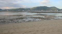 Low water in Tri Trang beach Phuket island Stock Footage