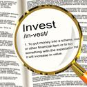 Stock Illustration of invest definition magnifier showing growing wealth and savings