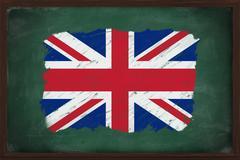 united kingdom flag painted with chalk on blackboard - stock photo