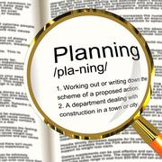 Planning definition magnifier showing organizing strategy and scheme Stock Illustration