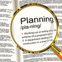 Stock Illustration of planning definition magnifier showing organizing strategy and scheme