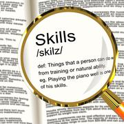Stock Illustration of skills definition magnifier showing aptitude ability and competence