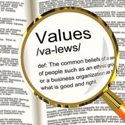 values definition magnifier showing principles virtue and morality - stock illustration