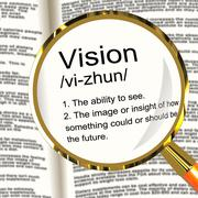 vision definition magnifier showing eyesight or future goals - stock illustration