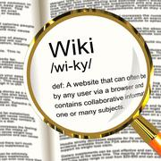 Wiki definition magnifier showing online collaborative community encyclopedia Stock Illustration