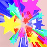 Abstract bursting stars background as colorful vibrant backdrop Stock Illustration