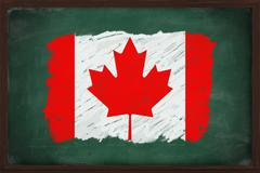 canada flag painted with chalk on blackboard - stock photo