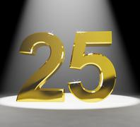 Gold 25th 3d number closeup representing anniversary or birthday Stock Illustration