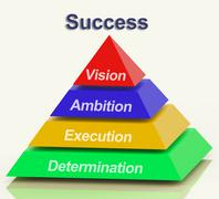 success pyramid showing vision ambition execution and determination - stock illustration