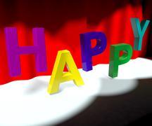 Onnellinen sana lavalla joka tarkoittaa onnea hauskuutta ja iloa Piirros