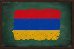armenia flag painted with chalk on blackboard - stock photo