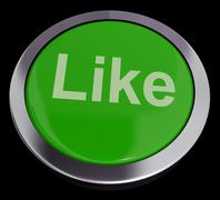 Like button in green showing approval and being a fan Stock Illustration