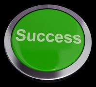 success button in green showing achievement and determination - stock illustration