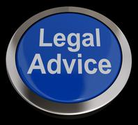 legal advice button in blue showing attorney guidance - stock illustration