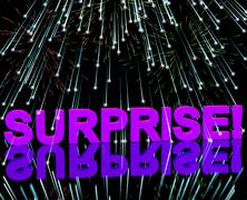 Surprise word and fireworks showing shock and celebration Stock Illustration