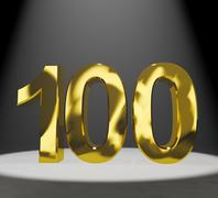 gold 100th or one hundred 3d number closeup representing anniversary or birth - stock illustration
