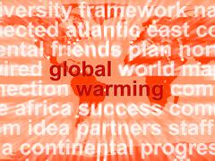 Stock Illustration of global warming words showing climate conservation and planet protection
