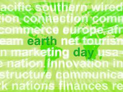 earth day words showing environmental concern and conservation - stock illustration