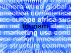 tourism word showing international travel and the signtseeing industry - stock illustration