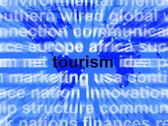 Stock Illustration of tourism word showing international travel and the signtseeing industry