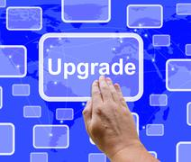 Stock Illustration of upgrade button showing software updates to fix applications