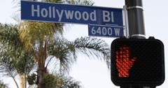 Ultra HD 4K Crosswalk Hollywood Street Sign Traffic Light Los Angeles Crossroad - stock footage