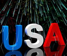 Usa word and fireworks as symbol for america and patriotism Stock Illustration
