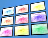 Stock Illustration of nine tv monitors wall mounted in different colors representing high definitio