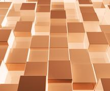 Bright glowing brown glass background with artistic cubes or squares Stock Illustration
