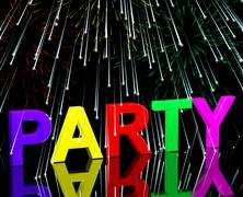 party word with fireworks showing clubbing nightlife or disco - stock illustration