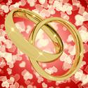 Stock Illustration of gold rings on heart bokeh background representing love valentine and romance