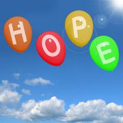 Stock Illustration of hope balloons in sky as sign of wishing and hoping
