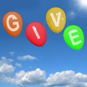 Give word on balloons showing charity donations and generous assistance Stock Illustration