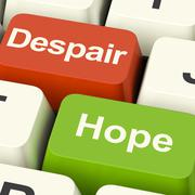 Stock Illustration of despair or hope computer keys showing hopeful or hopeless