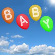 Baby balloons in sky showing newborn parenting or motherhood Stock Illustration