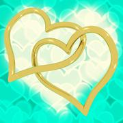 Stock Illustration of gold heart shaped rings on turquoise bokeh representing love and romance