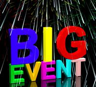 Big event words with fireworks showing upcoming festival concert or occasion Stock Illustration