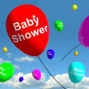 Stock Illustration of baby shower on balloons in sky for newborn birth party