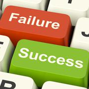 Success and failure computer keys showing succeeding or failing online Stock Illustration