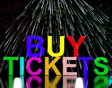 Buy tickets words with fireworks showing concert or festival admission purcha Stock Illustration