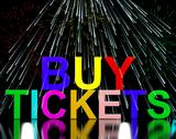 Stock Illustration of buy tickets words with fireworks showing concert or festival admission purcha