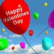 Stock Illustration of happy valentines day balloons in the sky showing love and affection