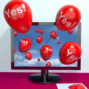 yes balloons from a computer showing approval and support message online - stock illustration