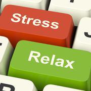 Stressi rentoutua tietokoneen näppäimet näytetään työpaineiden tai rentoutumista Piirros
