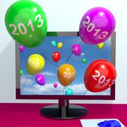 2013 balloons from computer representing year two thousand and thirteen greet - stock illustration